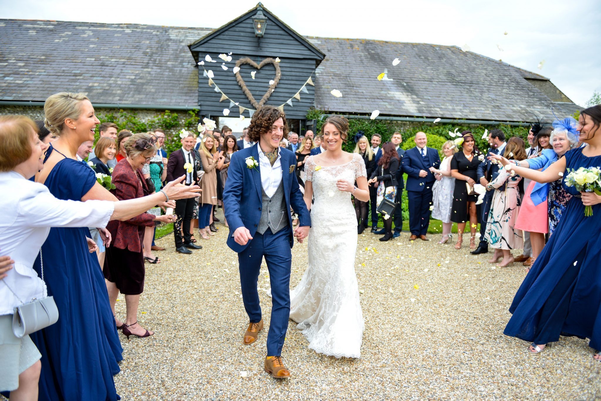 wedding confetti at upwaltham barn in sussex