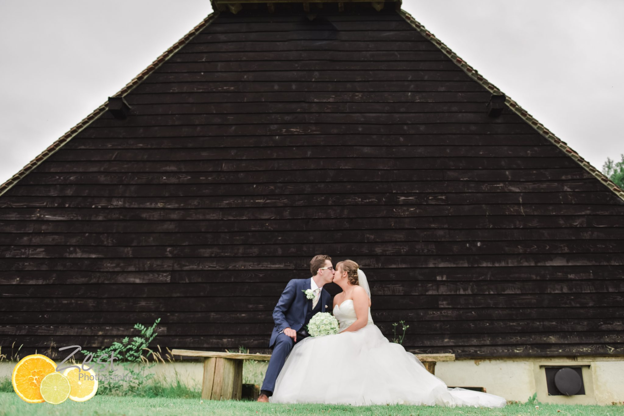 Bride and groom at guildings barn