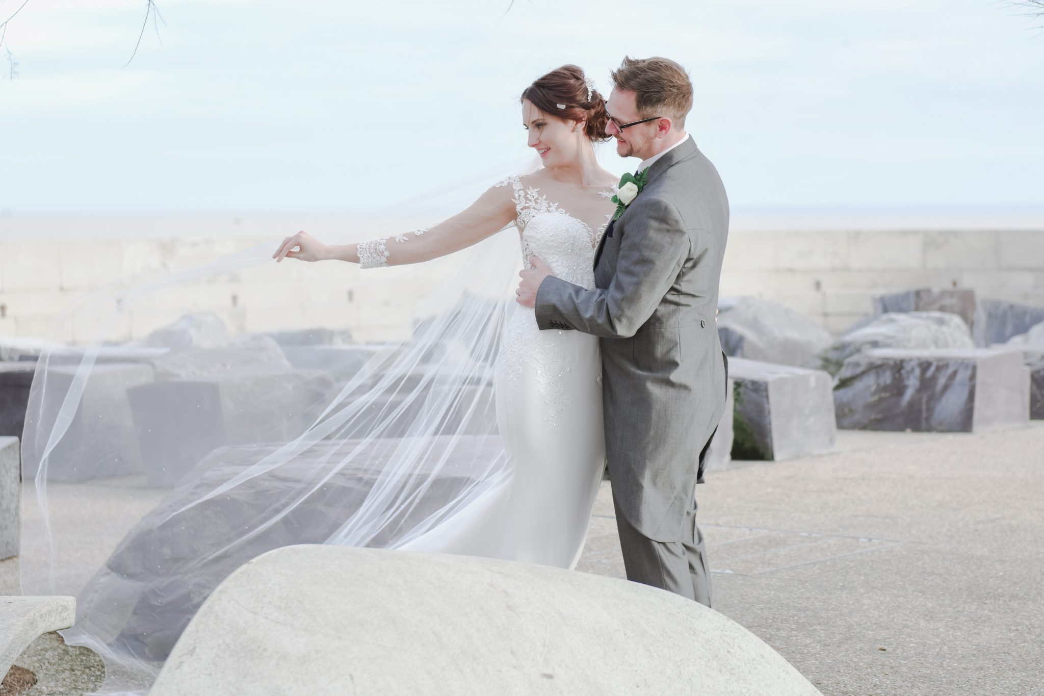 wedding photography on the beach at The burlington hotel, worthing