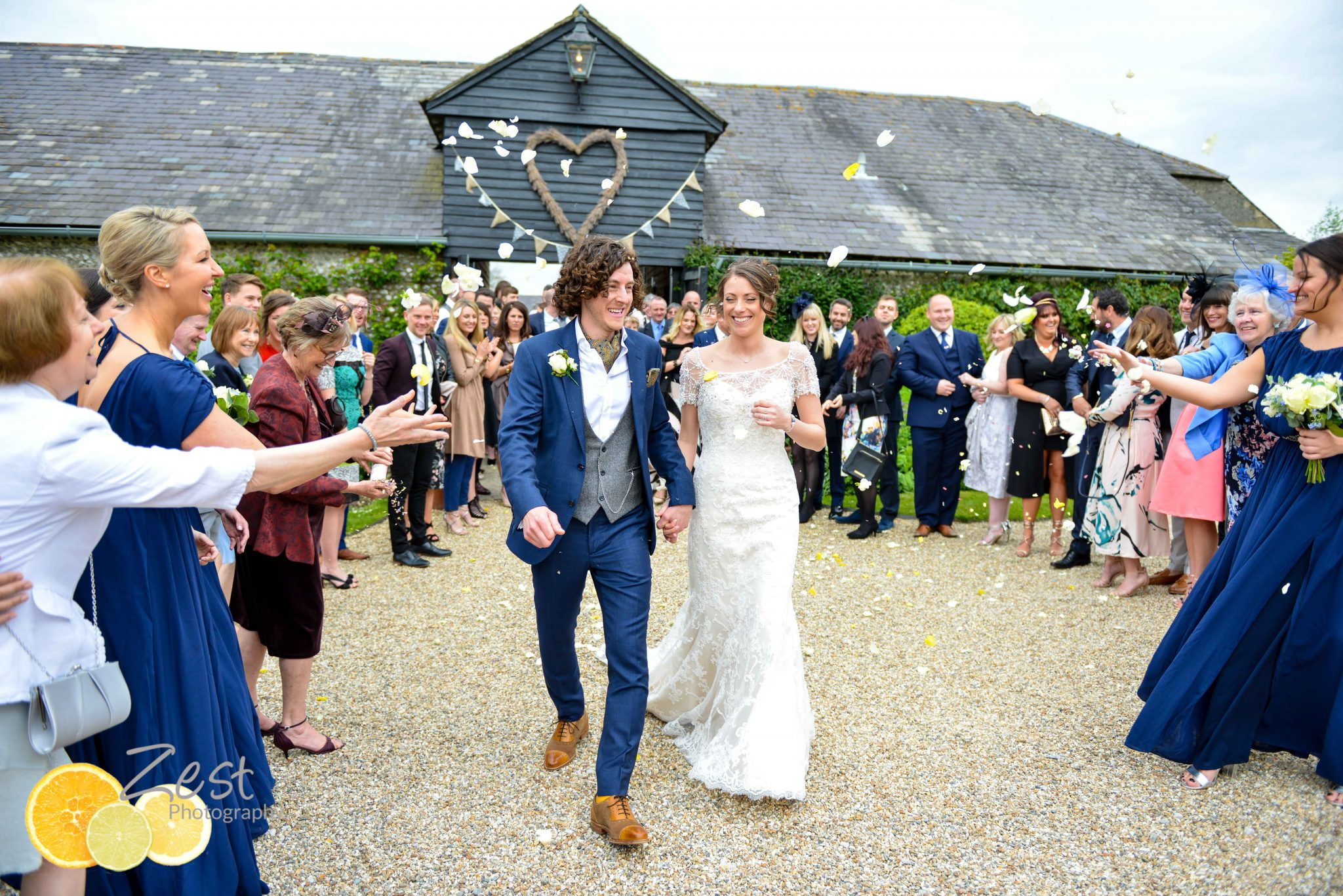 confetti moment at upwaltham barns