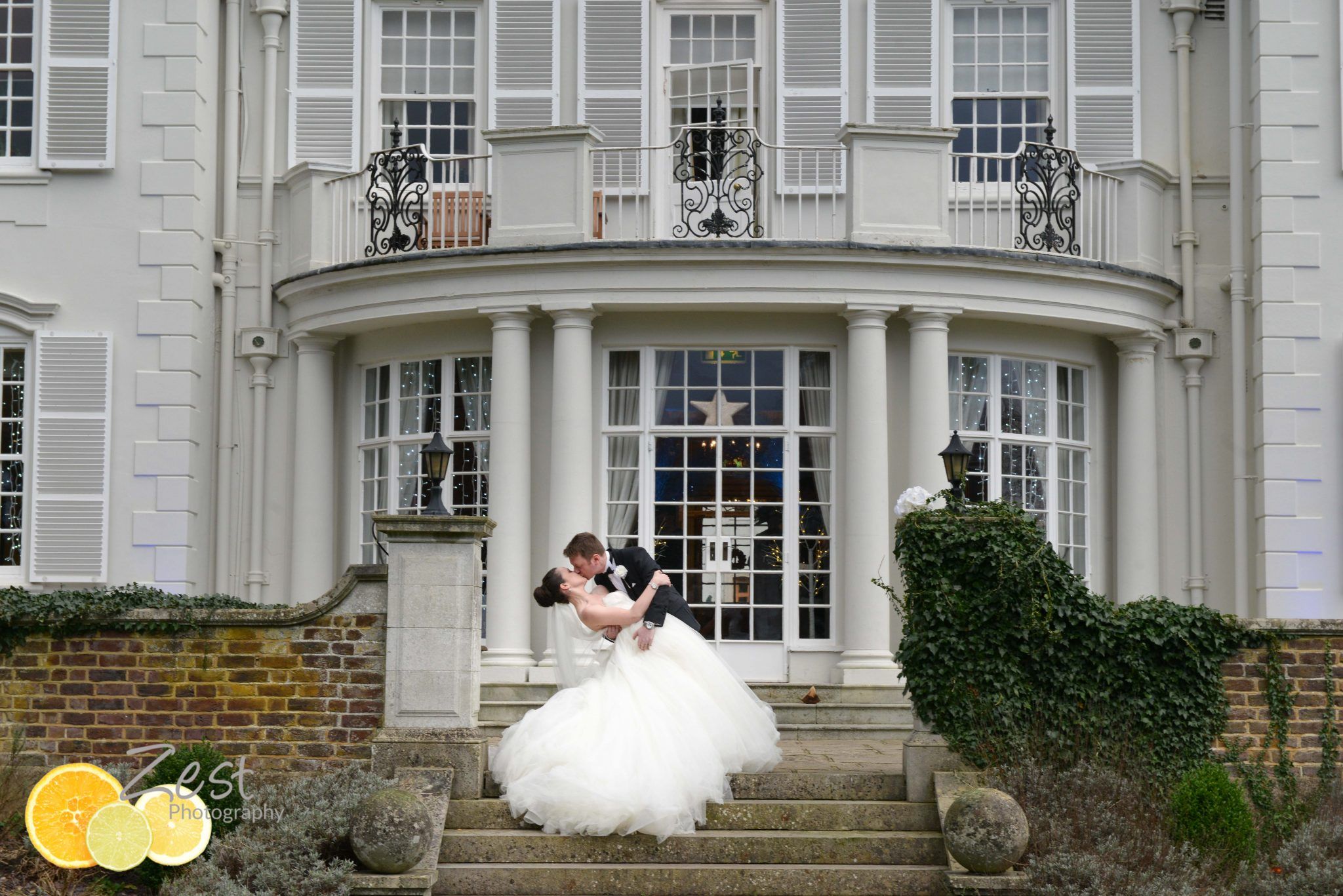 elegant wedding couple outside gorse hill