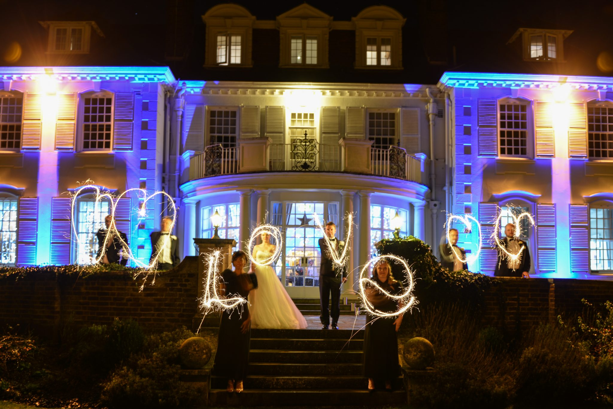 sparkler photograph at wedding at Gorse ill in Surrey