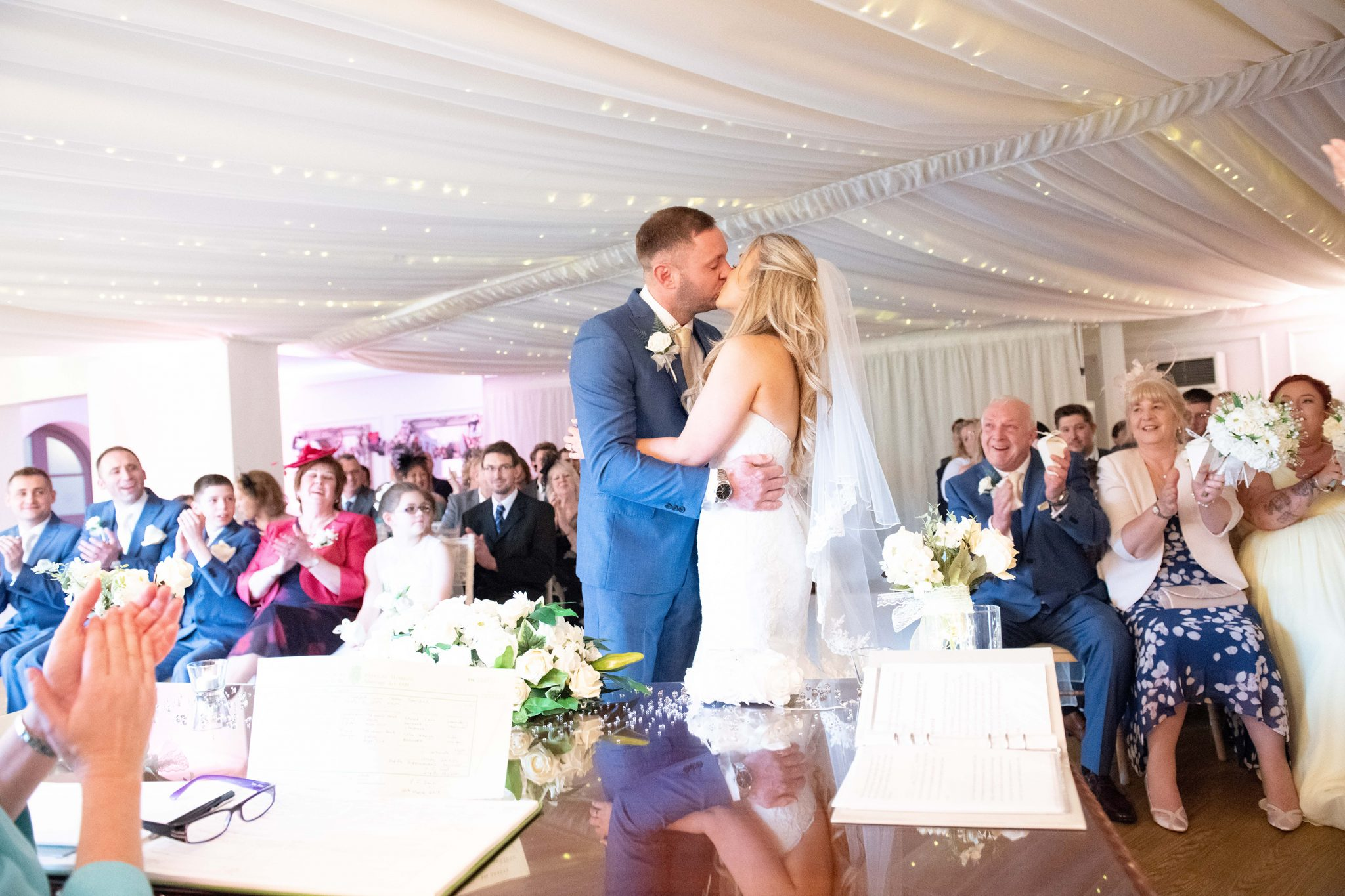 sussex wedding photographer wedding kiss at southdowns manor