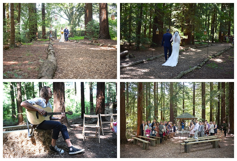 Father of the Bride walks Bride down the woodland isle to live music
