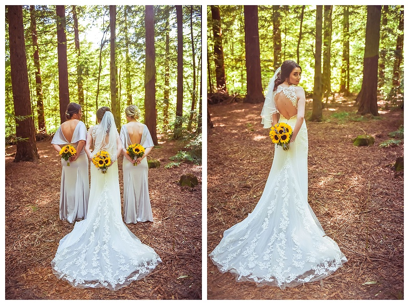 wedding bouquets bridesmaids in the woods