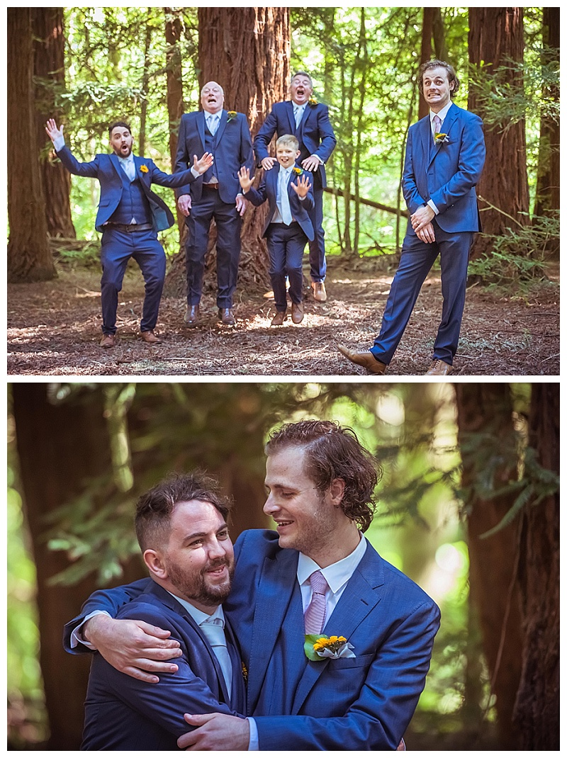 Groomsmen in suits being silly in the woods