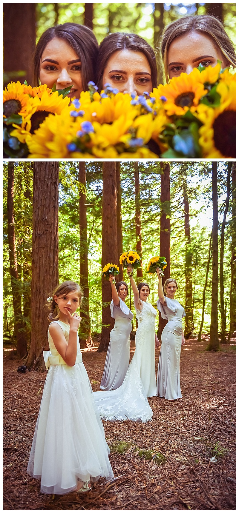 bridesmaids and sunflower boquets woodland weddings
