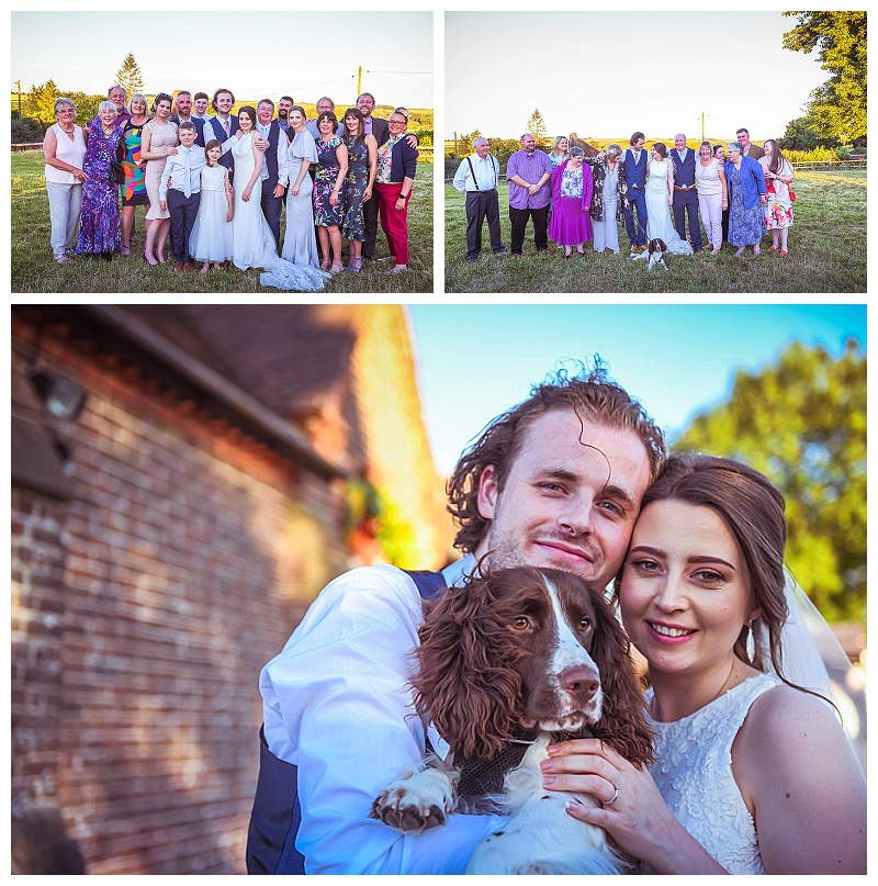 wedding guests and dog