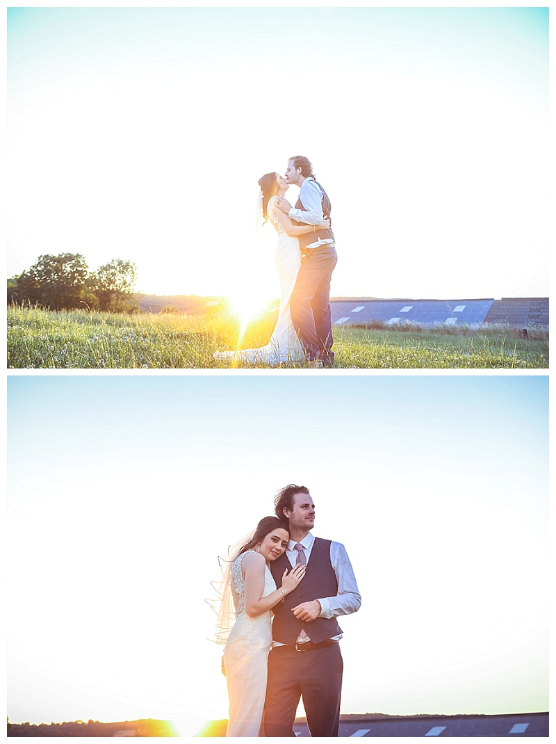 sunsets wedding bride and groom portrait
