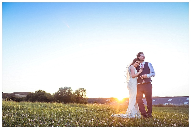 sunshine bride and groom portrait
