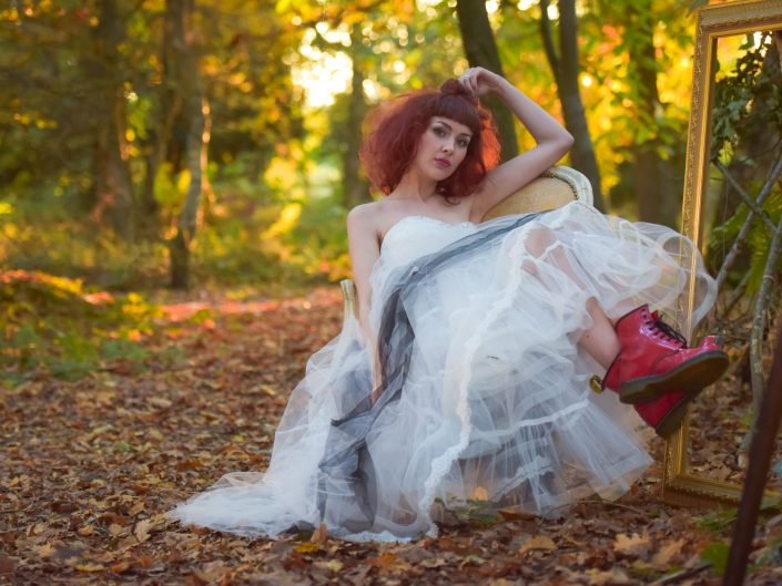 Autumn outdoor wedding shoot at with an Alternative twist - Alternative wedding photographer