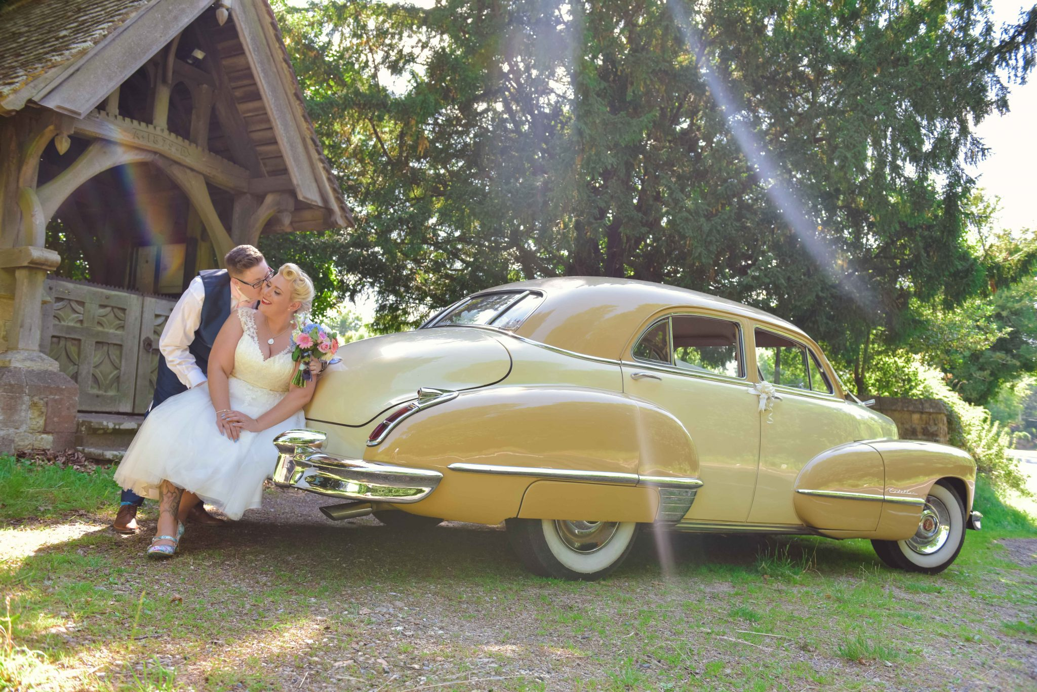 cadillac with same sex wedding at east court estate