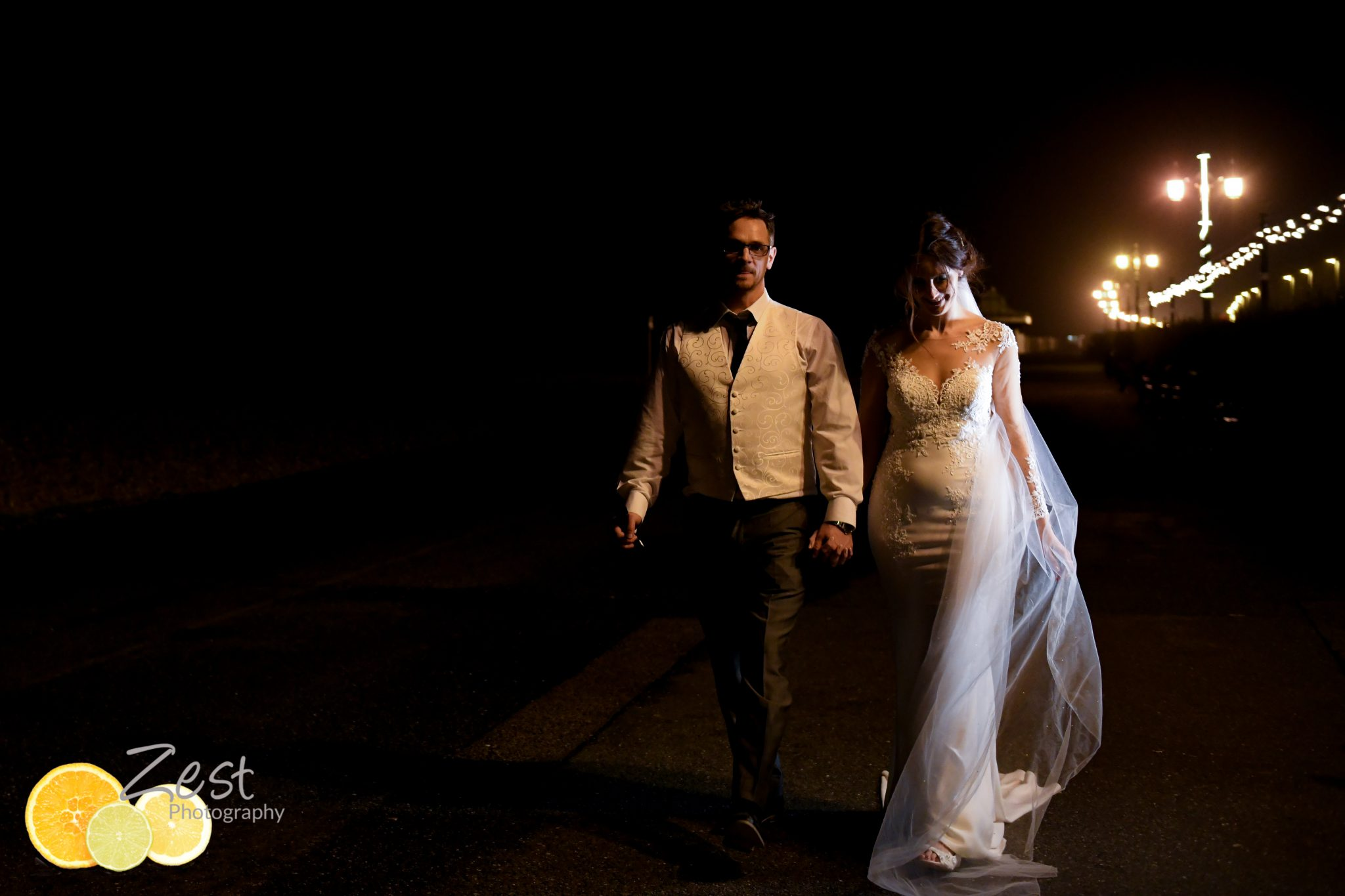 night time shoot with bride and groom outside the burlington hotel