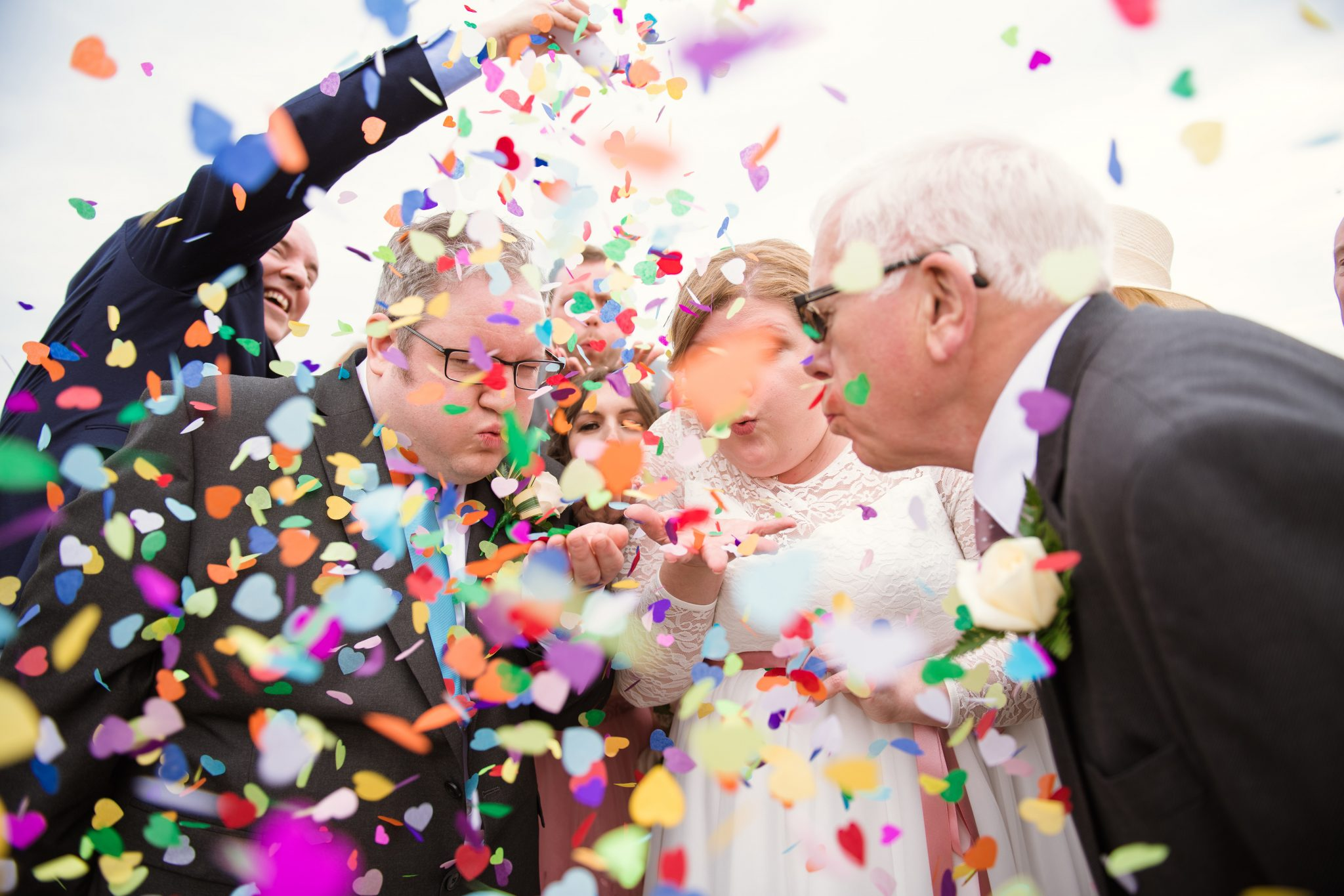 confetti photo taken by worthing wedding photographer at the dome