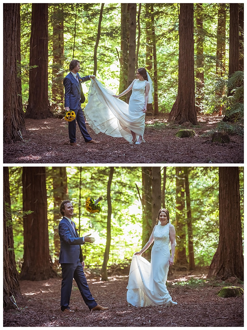romantic poses in the woods bride and groom in love