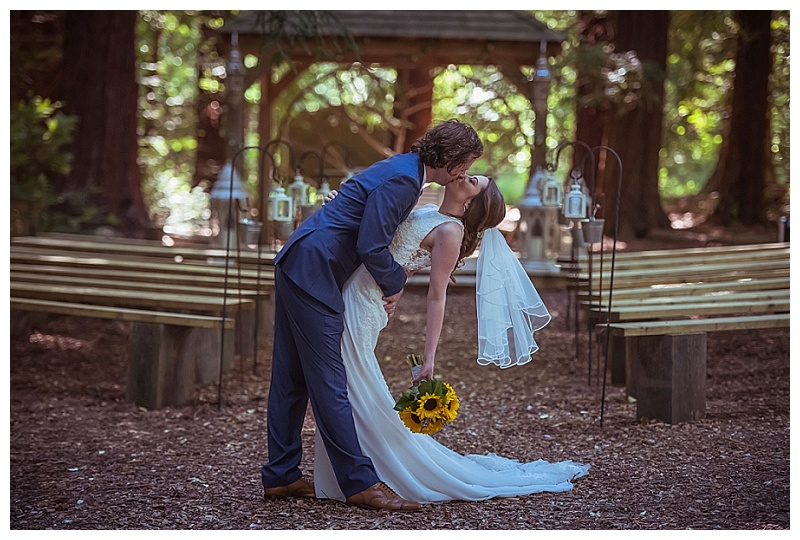 passionate kiss romantic bride and groom